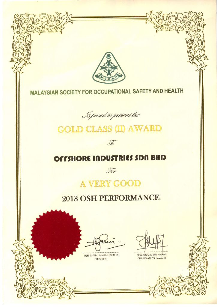 offshore industries sdn bhd oil and gas and petrochemical industry certificates and licenses